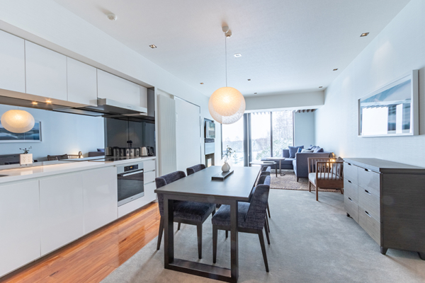 The Vale Niseko One Bedroom Apartment Kitchen and Dining Area | Upper Hirafu