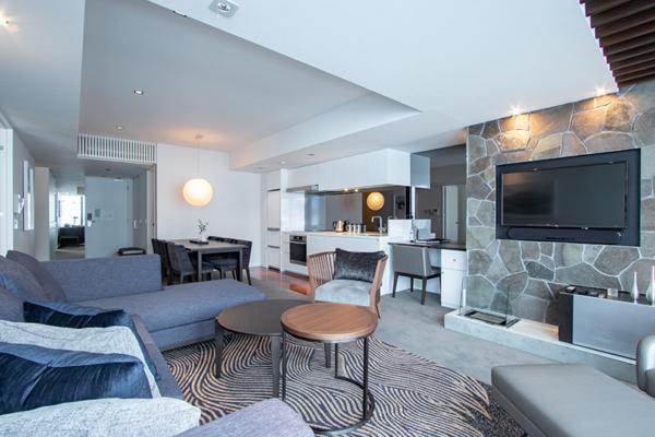 The Vale Niseko Two Bedroom Resort Living Area with TV | Upper Hirafu