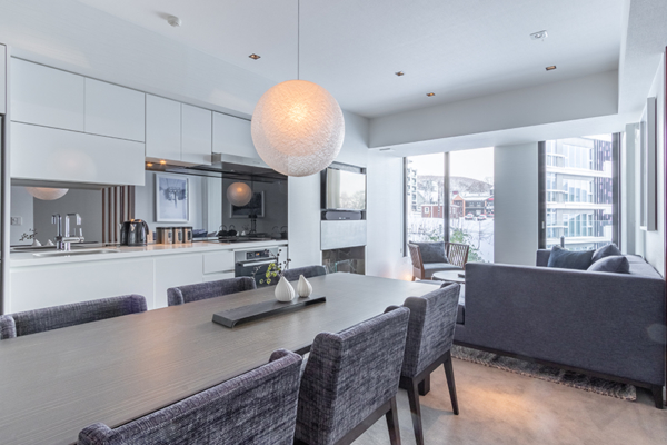 The Vale Niseko Two Bedroom Apartment Kitchen and Dining Area | Upper Hirafu