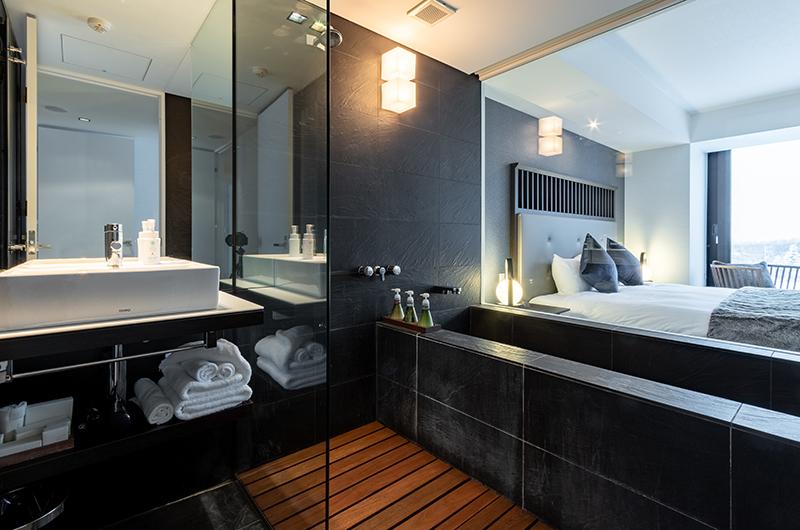 The Vale Niseko Three Bedroom Apartment Bedroom and Bathroom | Upper Hirafu