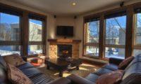 Gouka Lodge Bondi Living Area with Fireplace | Lower Hirafu