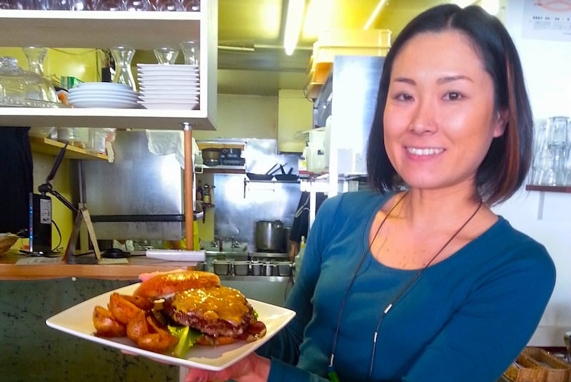 Big burgers at Niseko Green Farm Cafe