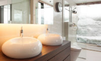 Glasshouse His and Hers Bathroom with Outdoor View | Lower Hirafu