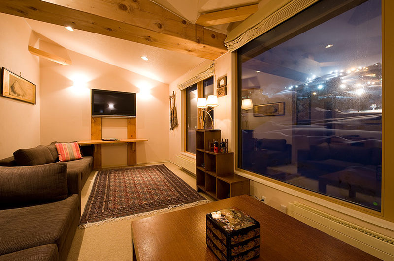 Gondola Chalets Living Area Night View | Upper Hirafu