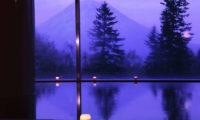 Hilton Niseko Village Mountain View from Window at Night | Niseko Village