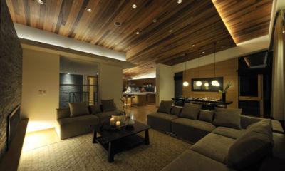 Niseko Kasetsu Lounge Area at Night | Lower Hirafu