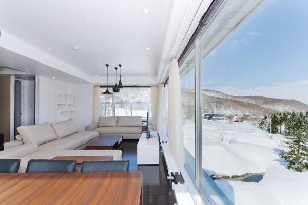 Kizuna Living Area with Ourdoor View | Upper Hirafu
