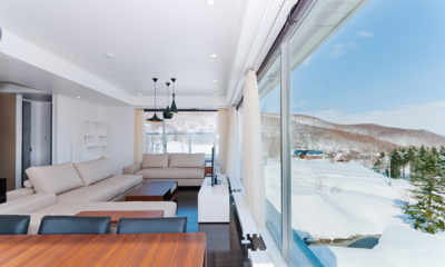 Kizuna Three Bedroom Penthouse Living Room Countryside View | Upper Hirafu