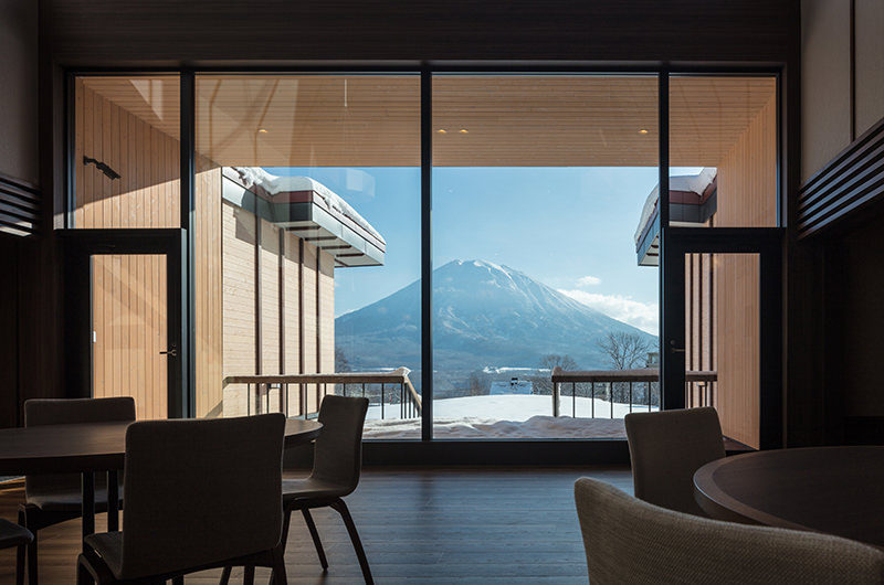 Lodge Hakuunso Mountain View from Dining Area | Upper Hirafu