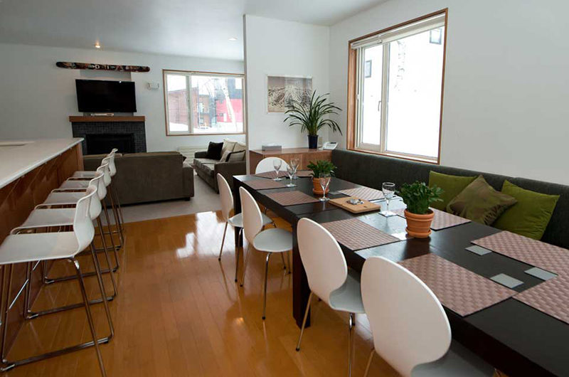 Shirokuma Chalets Modular Kitchen Dining Area with Wooden Floor | Middle Hirafu