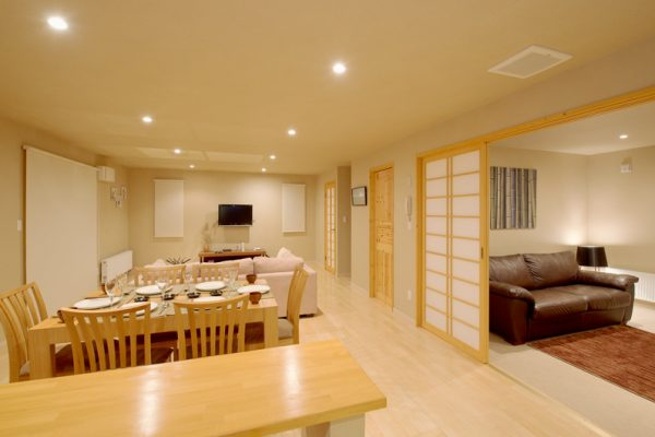 The Chalets at Country Resort Bankei Living and Dining Area with TV | West Hirafu