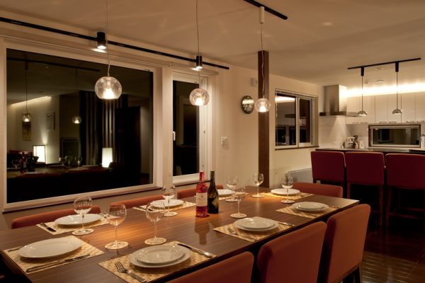 The Chalets at Country Resort Omono Dining at Night | West Hirafu