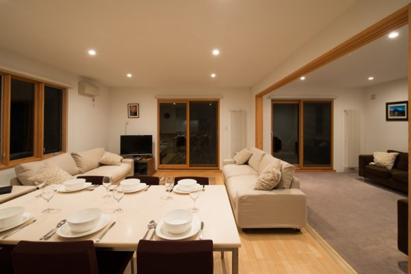The Chalets at Country Resort Kurodake Living and Dining Area with Wooden Floor | West Hirafu