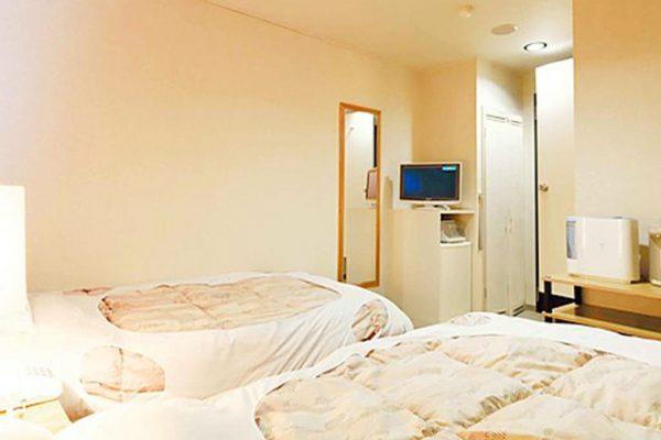 Hirafutei Prince Hotel Twin Bedroom with mirror and TV | Upper Hirafu