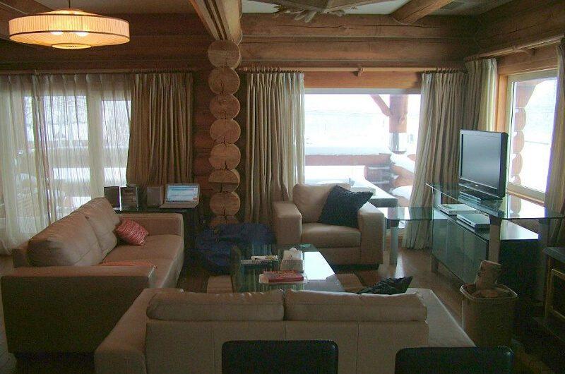 Kabayama Log House Living Area with TV | West Hirafu