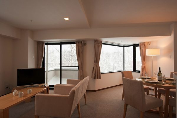 One Niseko Resort Towers Dining Area with TV | Moiwa