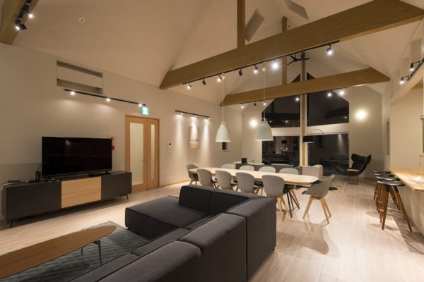 The Orchards Niseko Foxlodge Living and Dining Area with TV | West Hirafu