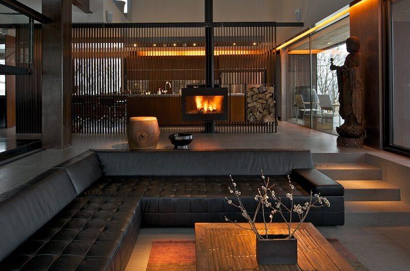 Sekka Hanazono House Living Area with Fireplace | Hanazono