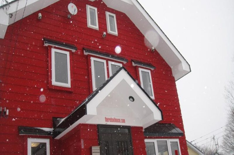 The Red Ski House Outdoor Area with Snowfall | Middle Hirafu