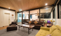 Gustavs Hideaway Living Area Night View | Lower Hirafu