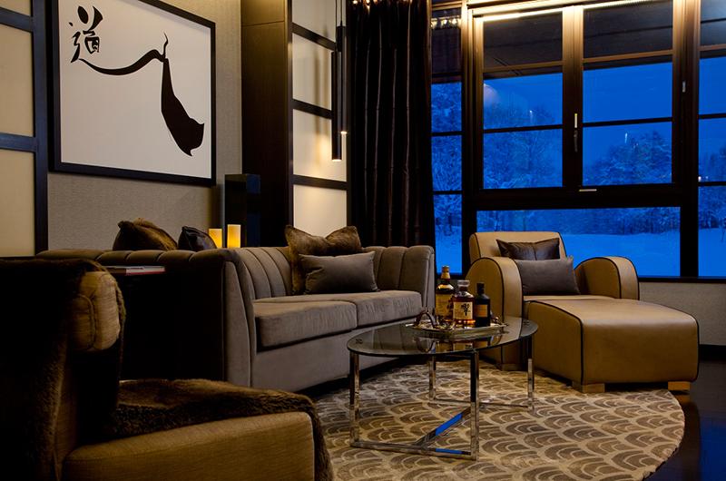 Kasara Townhouses Lounge Room by Night | Niseko Village