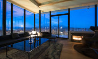 Muse Niseko Living Area with Night View | Middle Hirafu