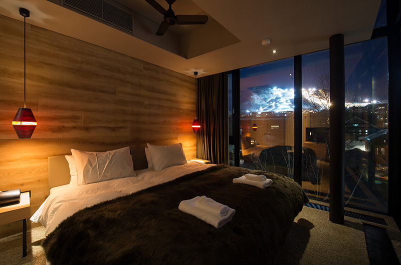 Aspect Niseko Bedroom at Night | Middle Hirafu Village