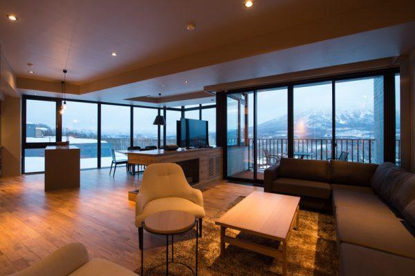 Aspect Niseko Lounge Area with Mountain View | Middle Hirafu Village