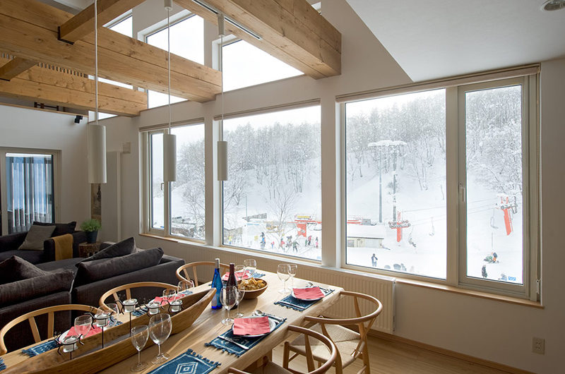 Chalet Murasaki Dining Area with Outdoor View | Upper Hirafu