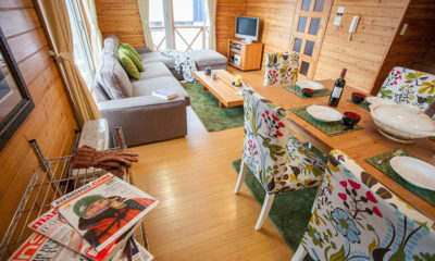 Powder Cottage Living and Dining Area with Wooden Floor | Middle Hirafu Village