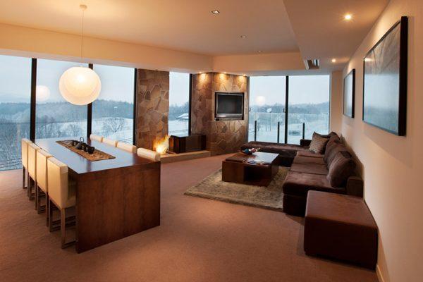 The Vale Niseko Living Room with Outdoor View | Upper Hirafu