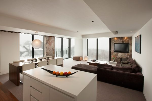 The Vale Niseko Living and Dining Area with TV | Upper Hirafu