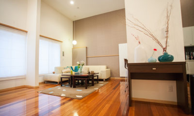 Yuki Yama Apartments Living Area with Wooden Floor | Middle Hirafu