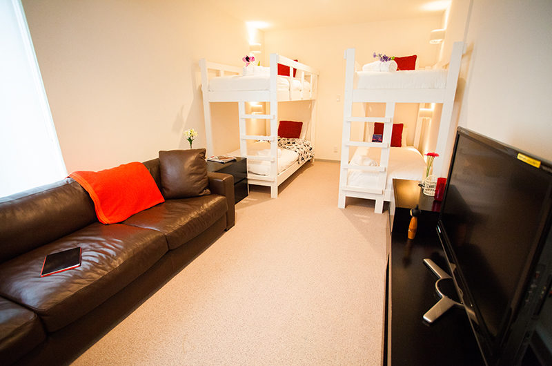 Yutaka Townhouses Bunk Beds with Sofa and TV | Middle Hirafu