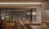 Aya Niseko Two Bedroom Living Area at Night | Upper Hirafu