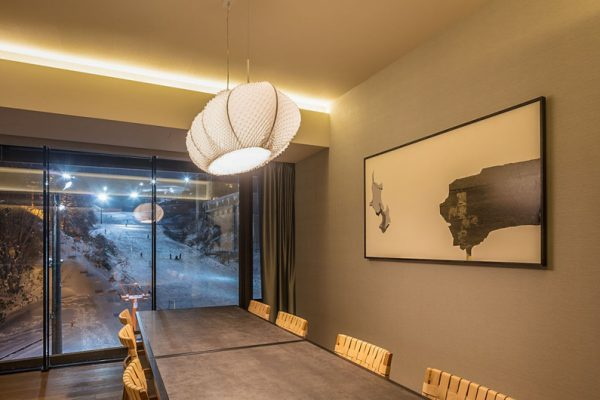 Aya Niseko Two Bedroom Dining Area at Night | Upper Hirafu