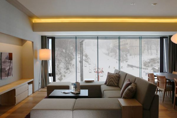 Aya Niseko Three Bedroom Living Area with TV | Upper Hirafu