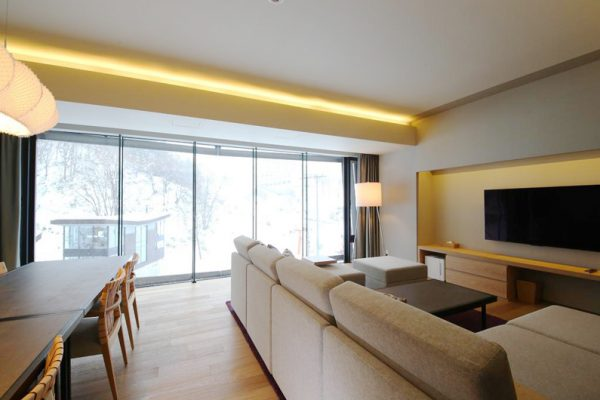Aya Niseko Three Bedroom Living and Dining Area with View | Upper Hirafu