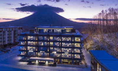 Aya Niseko Hotel Outdoor View at Night | Upper Hirafu