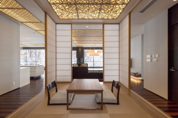 Aya Niseko Penthouse Three Seating Area with Japanese Mat | Upper Hirafu