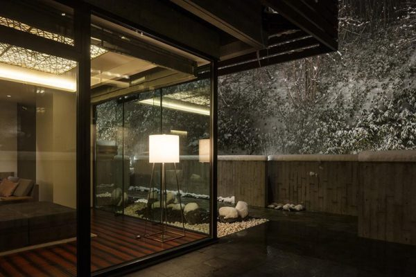 Aya Niseko Residence B 102 Outdoor View at Night | Upper Hirafu