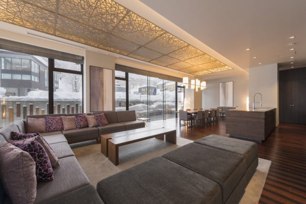 Aya Niseko Residence B 102 Living and Dining Area with Wooden Floor | Upper Hirafu