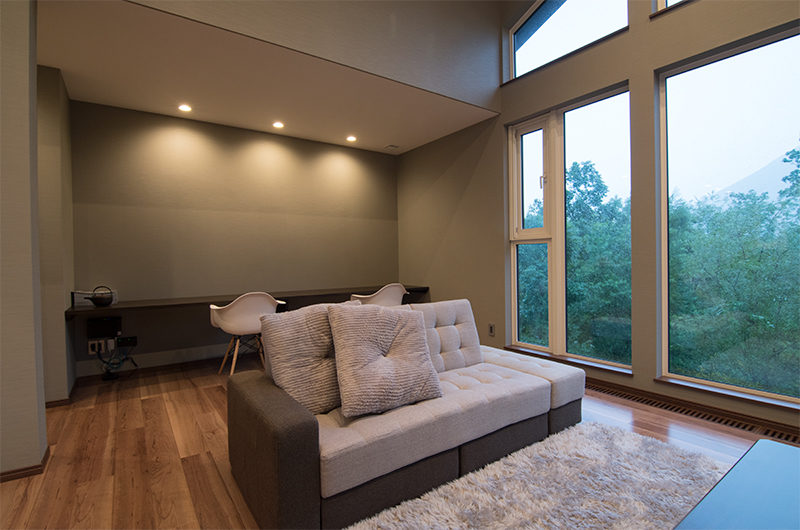 The Trees Chalets Living Area with Outdoor View | West Hirafu