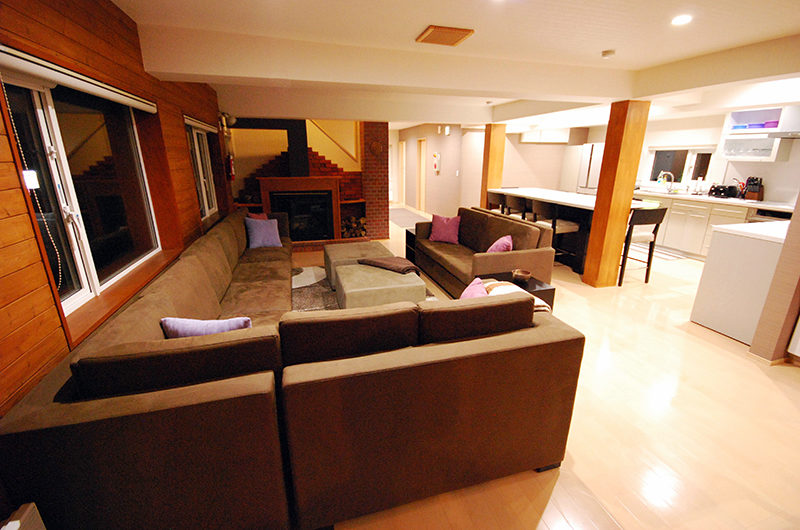 Cisco Moon Lodge Living Area with fireplace | Lower Hirafu