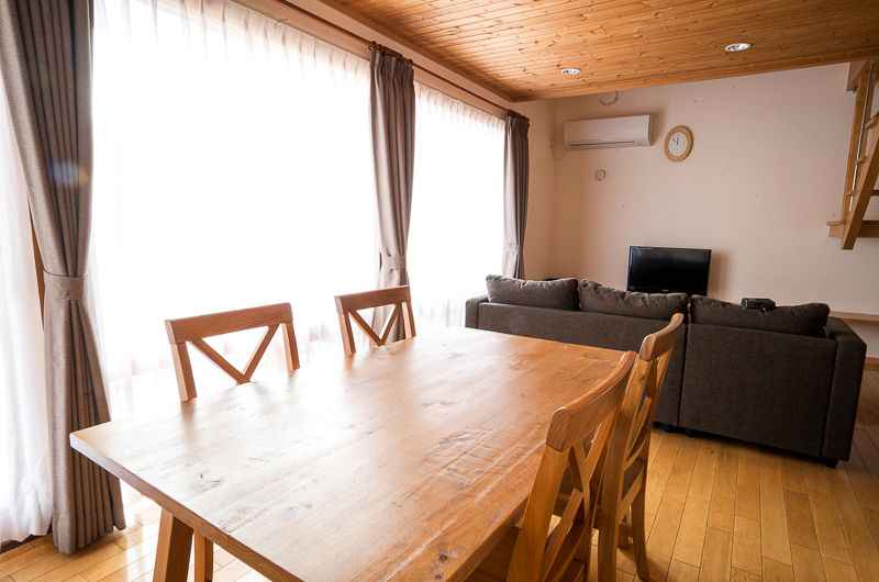 Bliss Cottage Sakura Living and Dining Area with TV | East Hirafu
