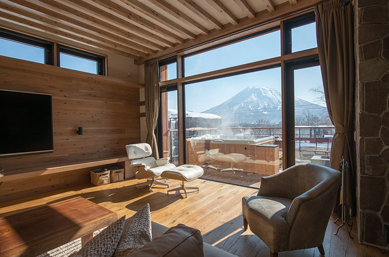 Hakuchozan Living Area with TV and Mountain View | Lower Hirafu