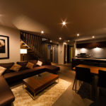 Phoenix Chalets Living and Dining Area at Night   Lower Wadano
