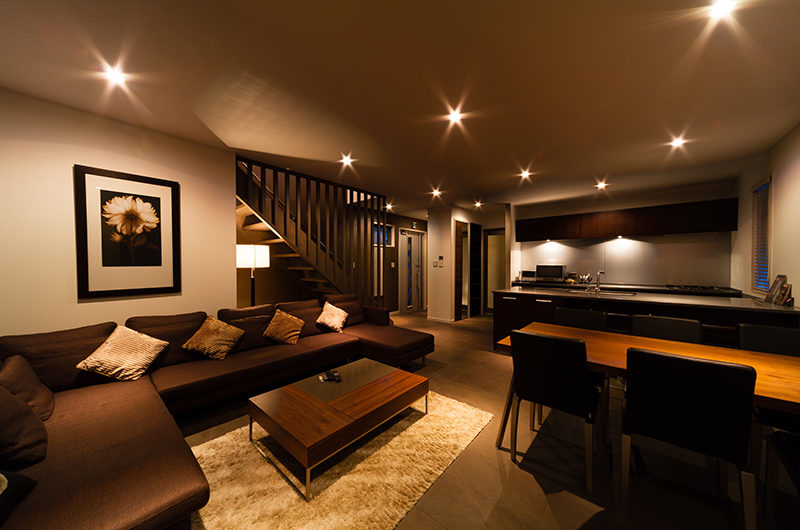 Phoenix Chalets Living and Dining Area at Night | Lower Wadano