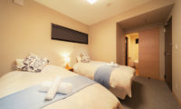 Wadano Woods Chalets Twin Bedroom and Bathroom | Lower Wadano