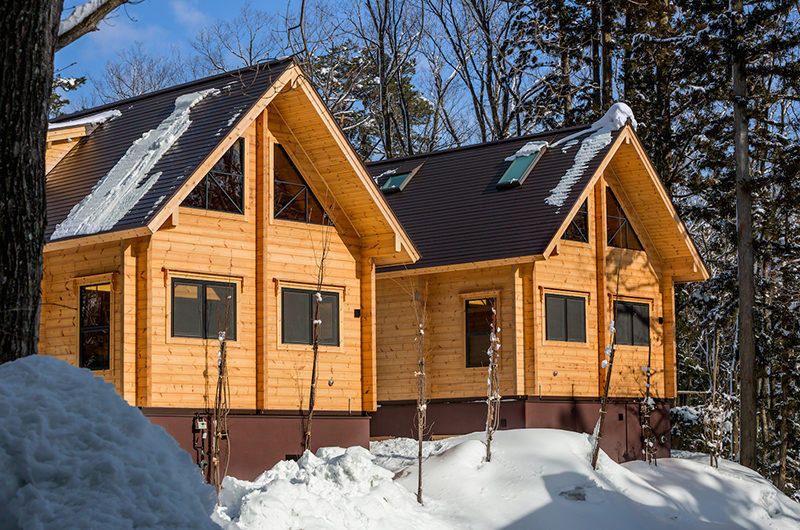 Wadano Woods Chalets Exterior with Snow and Trees | Lower Wadano